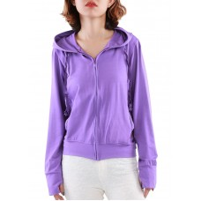 Áo khoác nữ thun lạnh có túi trong và tay xỏ ngón Phúc An 4034 màu tím nhạt