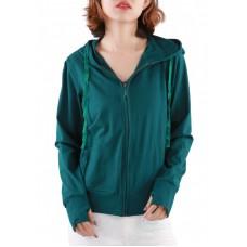 Áo khoác nữ thun lạnh có túi trong và tay xỏ ngón Phúc An 4034 màu ve chai
