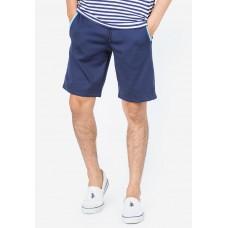 Quần shorts thun dây rút xanh lam phối