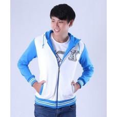 Áo khoác nam phối tay chữ K màu xanh dương